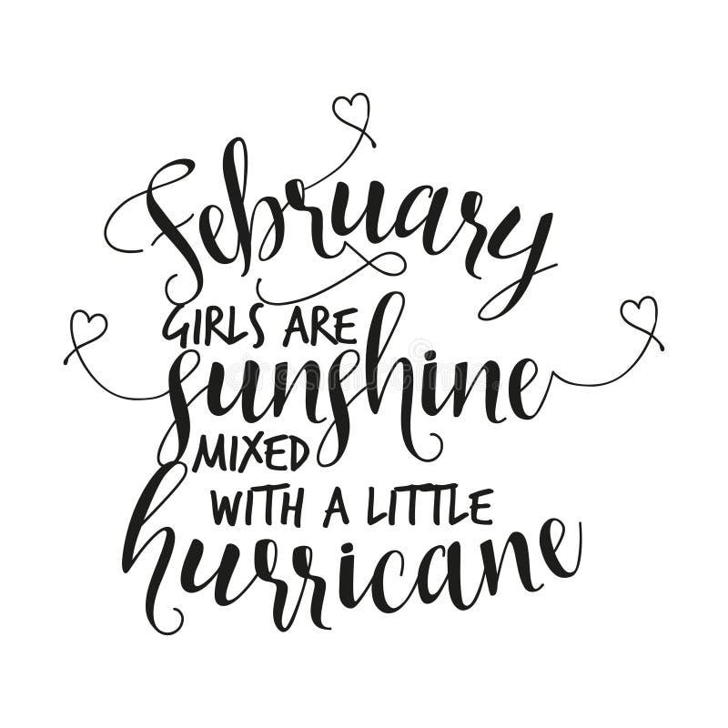 Februar-Mädchen sind der Sonnenschein, der mit einem kleinen Hurrikan gemischt wird lizenzfreie abbildung