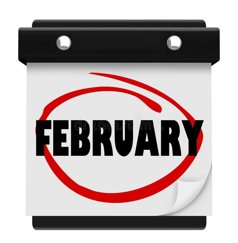 Februar-Monats-Wort-Wandkalender erinnern sich an Zeitplan vektor abbildung