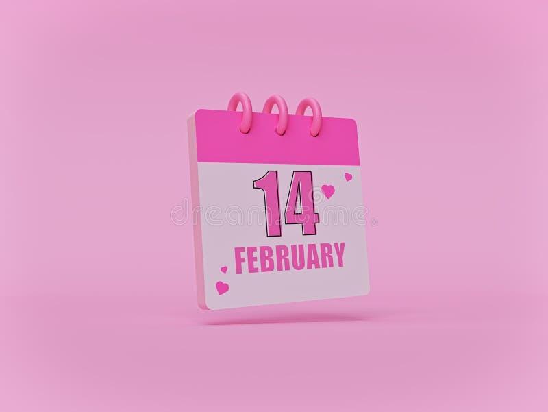 14. Februar netter minimaler Kalender auf rosa Hintergrund ValentinsgrußDatum Wiedergabe 3d vektor abbildung