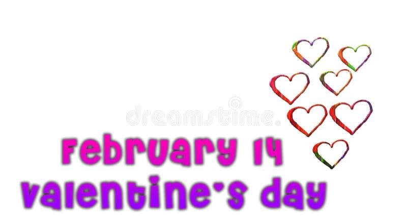 14. Februar Valentinsgrußtag mit kleinen Herzen auf einem weißen Hintergrund lizenzfreie stockfotos