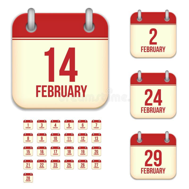 Februar-Vektorkalenderikonen vektor abbildung