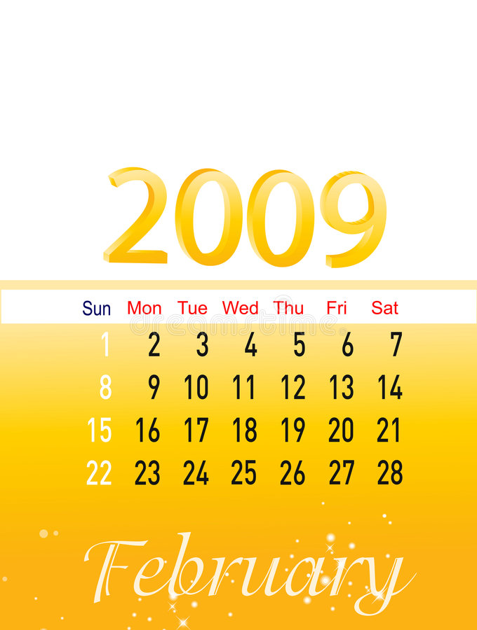 Februari 2009 stock afbeelding