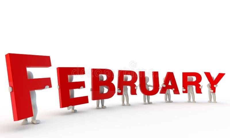 Februari stock illustratie