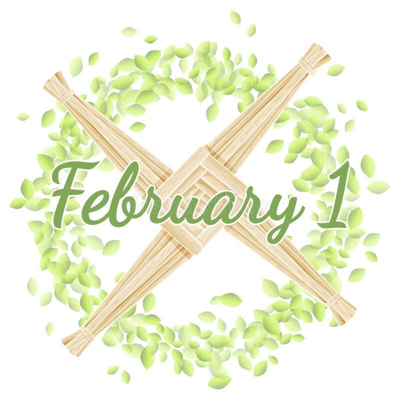 Februari 1 Börja av hednisk ferie för vår Brigids kors i en krans av gröna sidor royaltyfri illustrationer