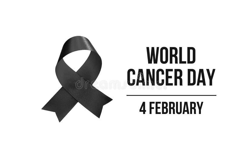4 Februari, de Dag van Wereldkanker met lint zwart-witte kleur voor campagneaffiche over kanker royalty-vrije illustratie
