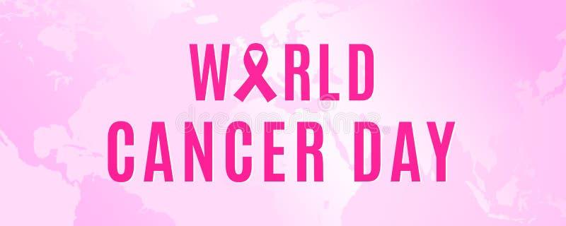 4 februari is de Dag van Wereldkanker om u te delen liefdadigheid met de oncologiepatiënten stock illustratie