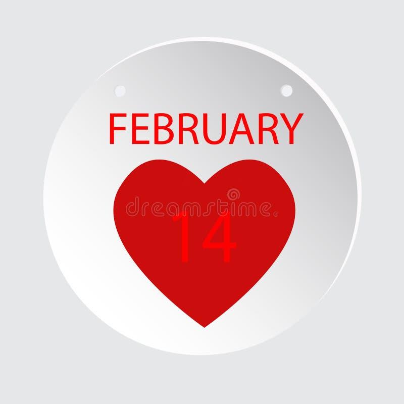 14 februari De Liefde van de Dag van de valentijnskaart Vectorillustratie Vlakke Stijl vector illustratie