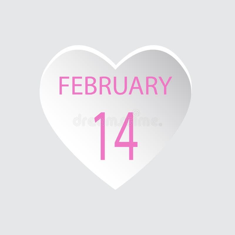 14 februari De Liefde van de Dag van de valentijnskaart Vectorillustratie Vlakke Stijl stock illustratie