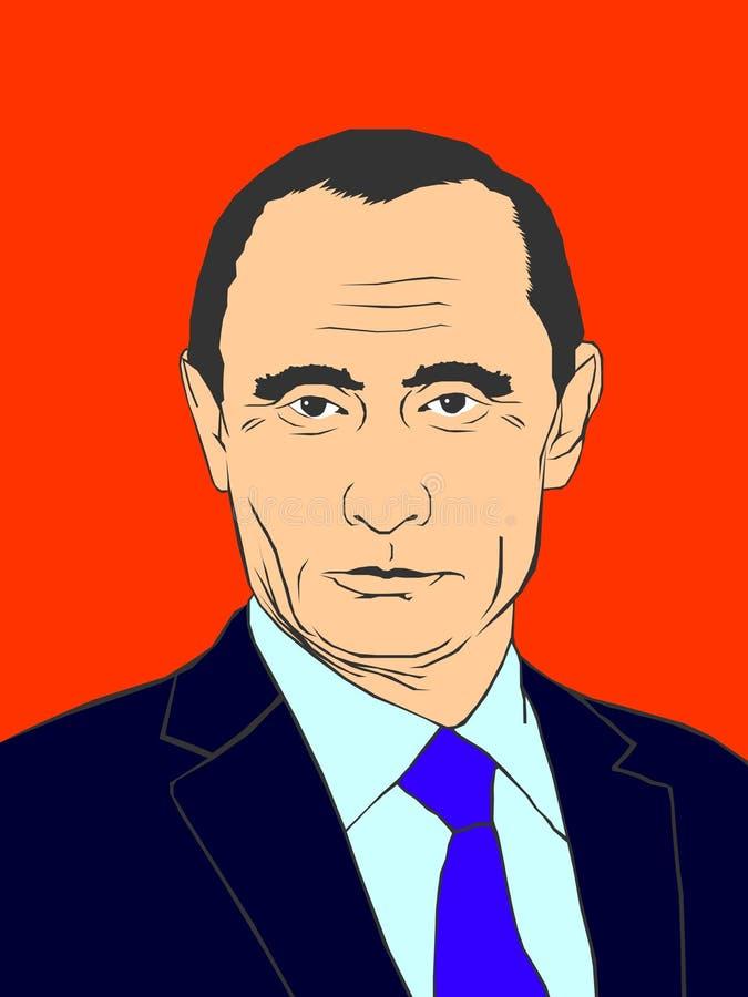 Februari 19, 2019 En vektorillustration av en stående av presidenten Vladimir Putin på en röd bakgrund royaltyfri illustrationer