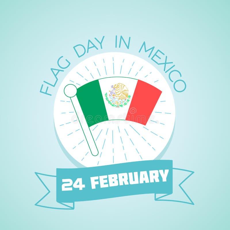 24 Februari flaggmärkesdag i Mexico vektor illustrationer