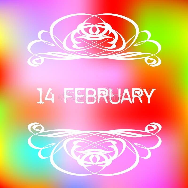 14 februari hälsningkort med dekorativ karaktärsteckning på färgrik lutningbakgrund stock illustrationer