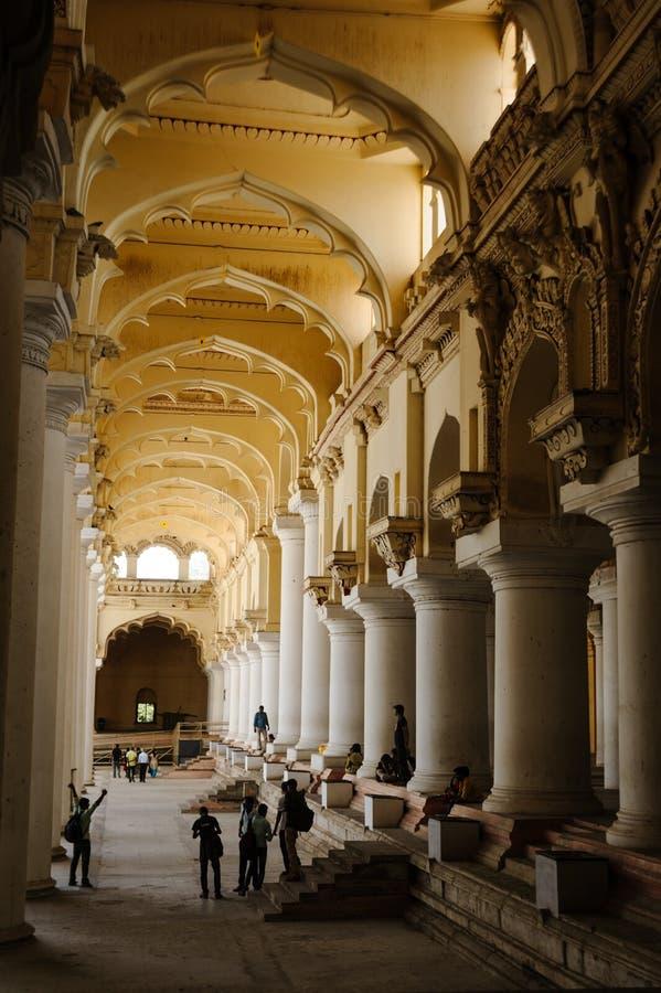23 februari 2018 het Paleis Indische architectuur van Madurai, India Thirumalai Nayak royalty-vrije stock fotografie