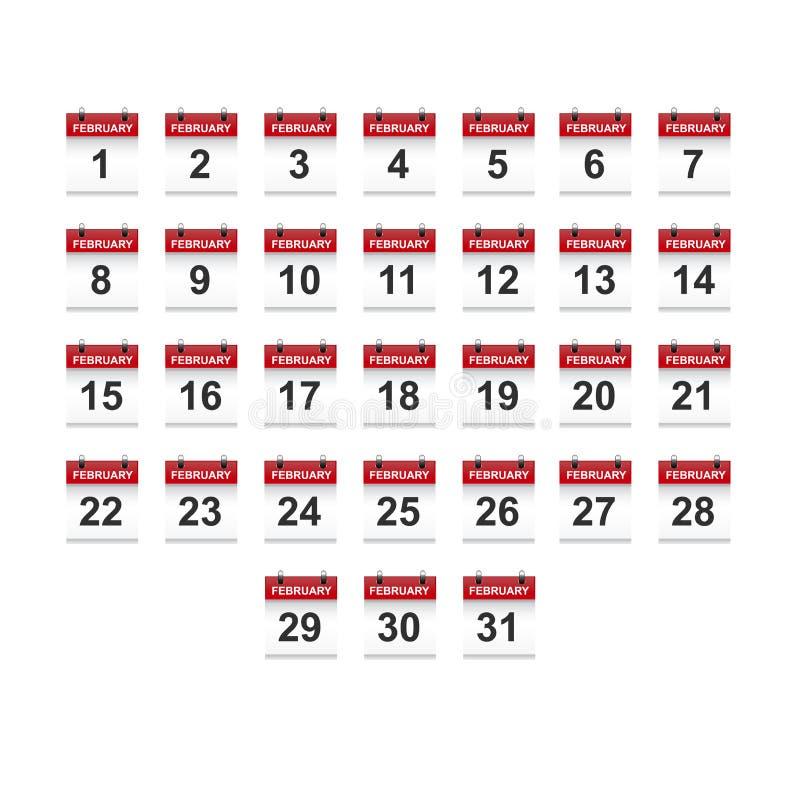 Februari-het vectorart. van de kalender 1-31 illustratie vector illustratie