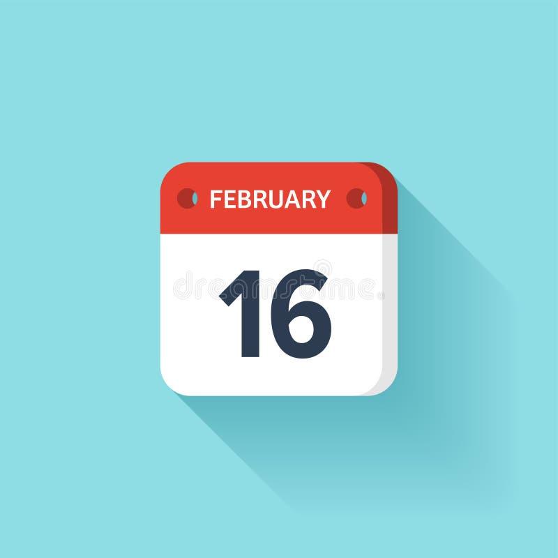 Februari 16 Isometrisk kalendersymbol med skugga Vektorillustration, lägenhetstil Månad och datum söndag måndag, tisdag stock illustrationer