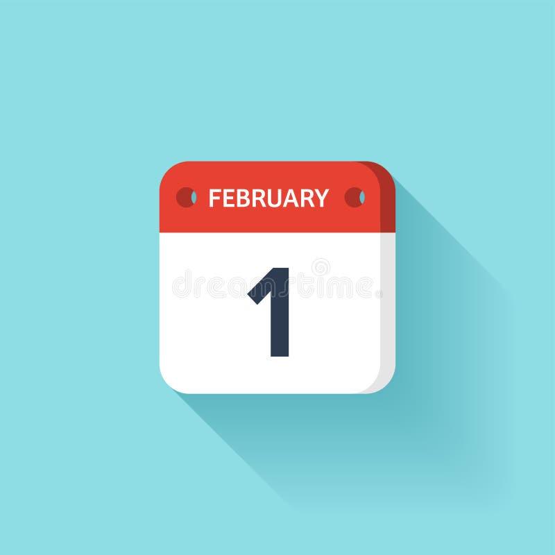 Februari 1 Isometrisk kalendersymbol med skugga Vektorillustration, lägenhetstil Månad och datum söndag måndag, tisdag vektor illustrationer