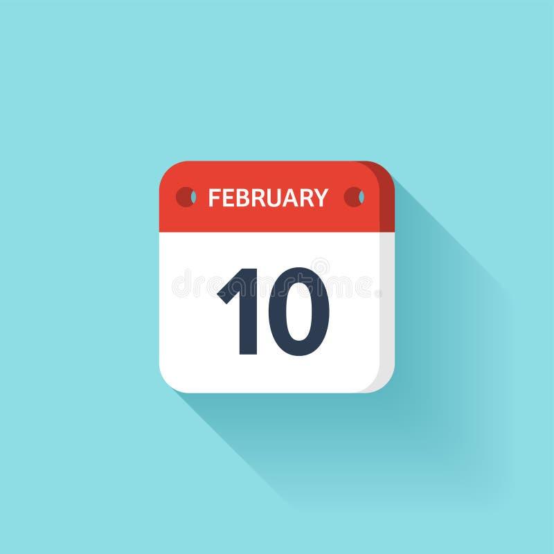 Februari 10 Isometrisk kalendersymbol med skugga Vektorillustration, lägenhetstil Månad och datum söndag måndag, tisdag stock illustrationer