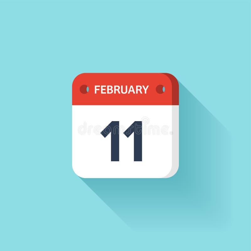 Februari 11 Isometrisk kalendersymbol med skugga Vektorillustration, lägenhetstil Månad och datum söndag måndag, tisdag vektor illustrationer