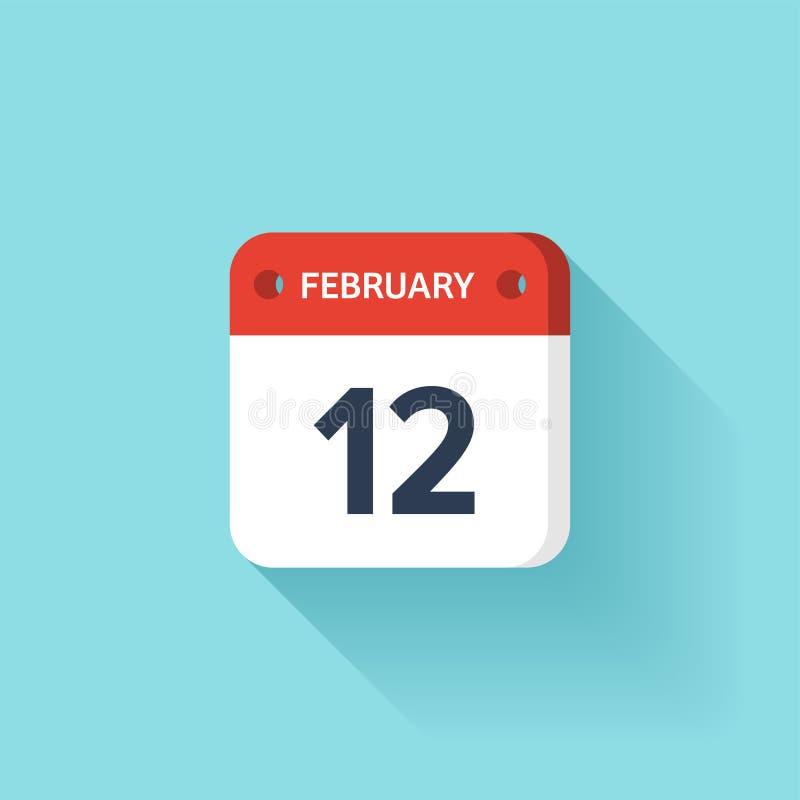 Februari 12 Isometrisk kalendersymbol med skugga Vektorillustration, lägenhetstil Månad och datum söndag måndag, tisdag royaltyfri illustrationer