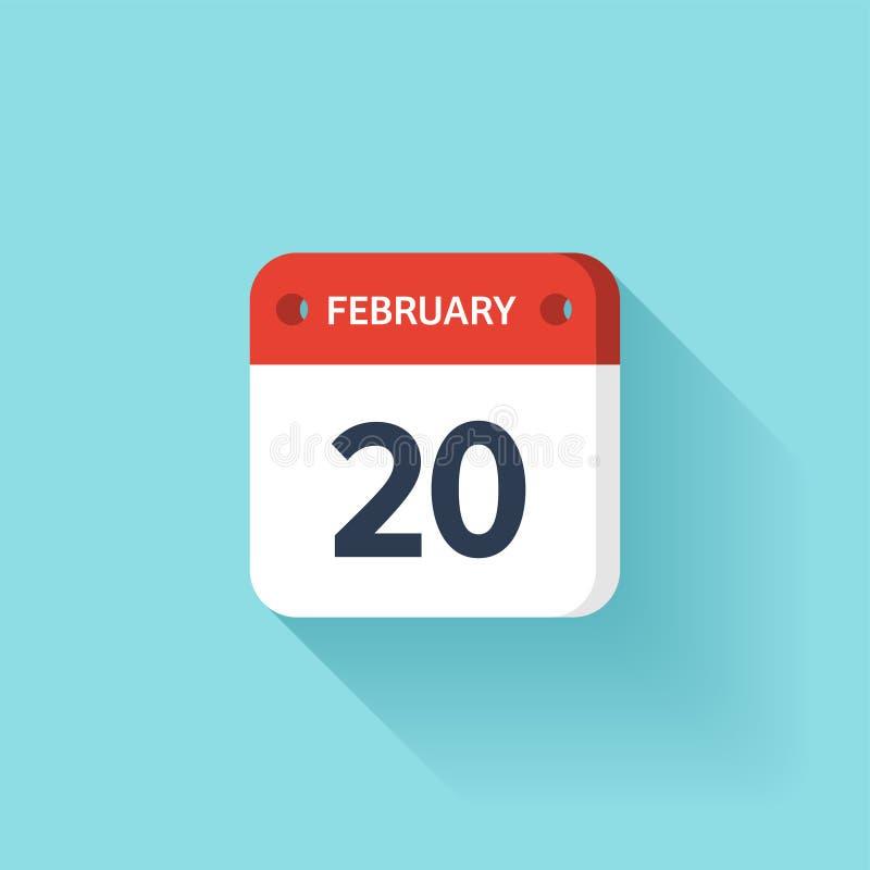Februari 20 Isometrisk kalendersymbol med skugga Vektorillustration, lägenhetstil Månad och datum söndag måndag, tisdag vektor illustrationer