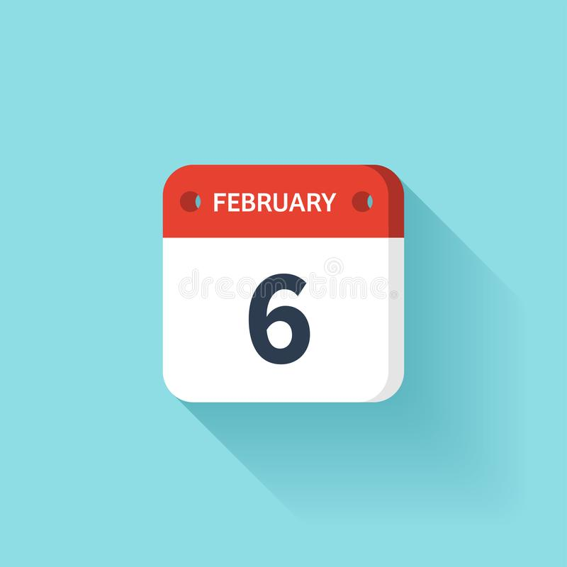 Februari 6 Isometrisk kalendersymbol med skugga Vektorillustration, lägenhetstil Månad och datum söndag måndag, tisdag vektor illustrationer