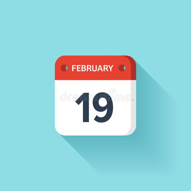 Februari 19 Isometrisk kalendersymbol med skugga Vektorillustration, lägenhetstil Månad och datum söndag måndag, tisdag stock illustrationer