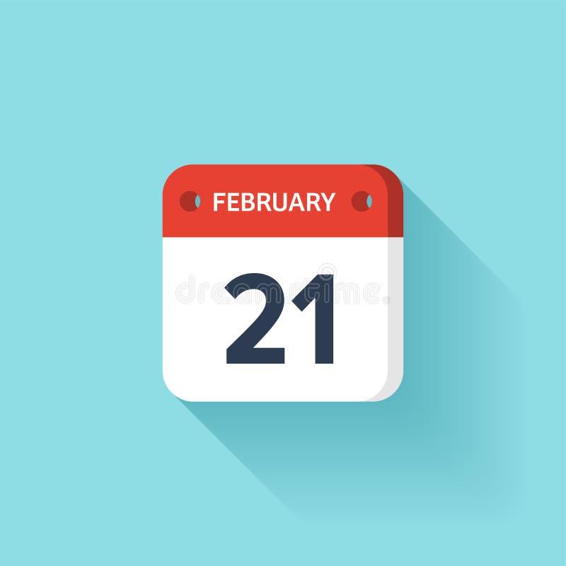 Februari 21 Isometrisk kalendersymbol med skugga Vektorillustration, lägenhetstil Månad och datum söndag måndag, tisdag royaltyfri illustrationer