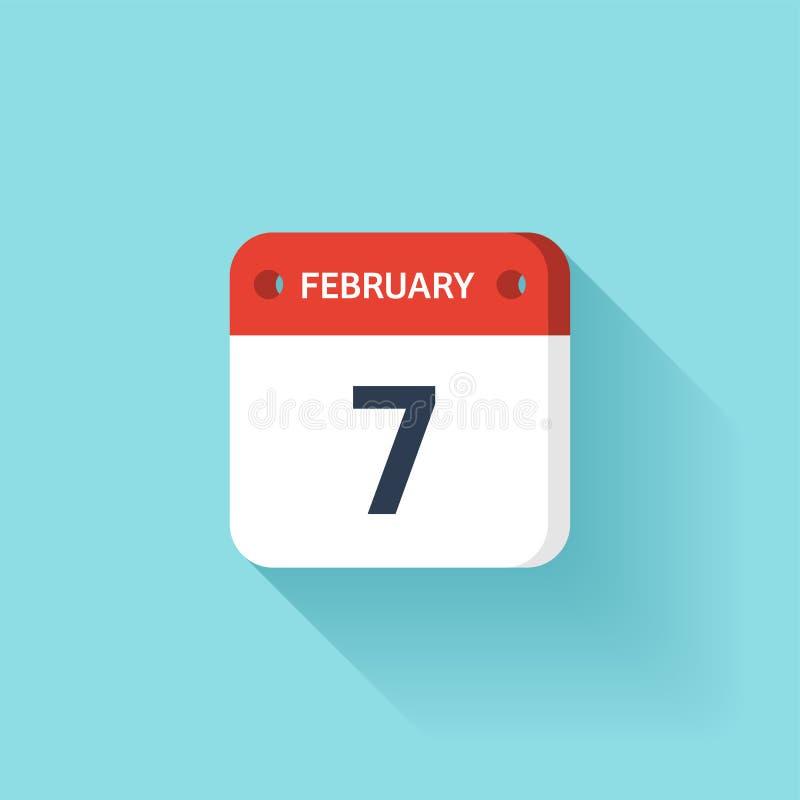 Februari 7 Isometrisk kalendersymbol med skugga Vektorillustration, lägenhetstil Månad och datum söndag måndag, tisdag royaltyfri illustrationer