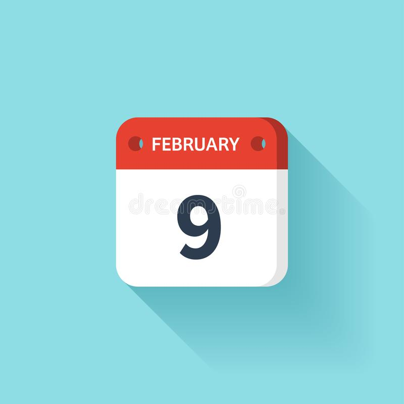 Februari 9 Isometrisk kalendersymbol med skugga Vektorillustration, lägenhetstil Månad och datum söndag måndag, tisdag royaltyfri illustrationer