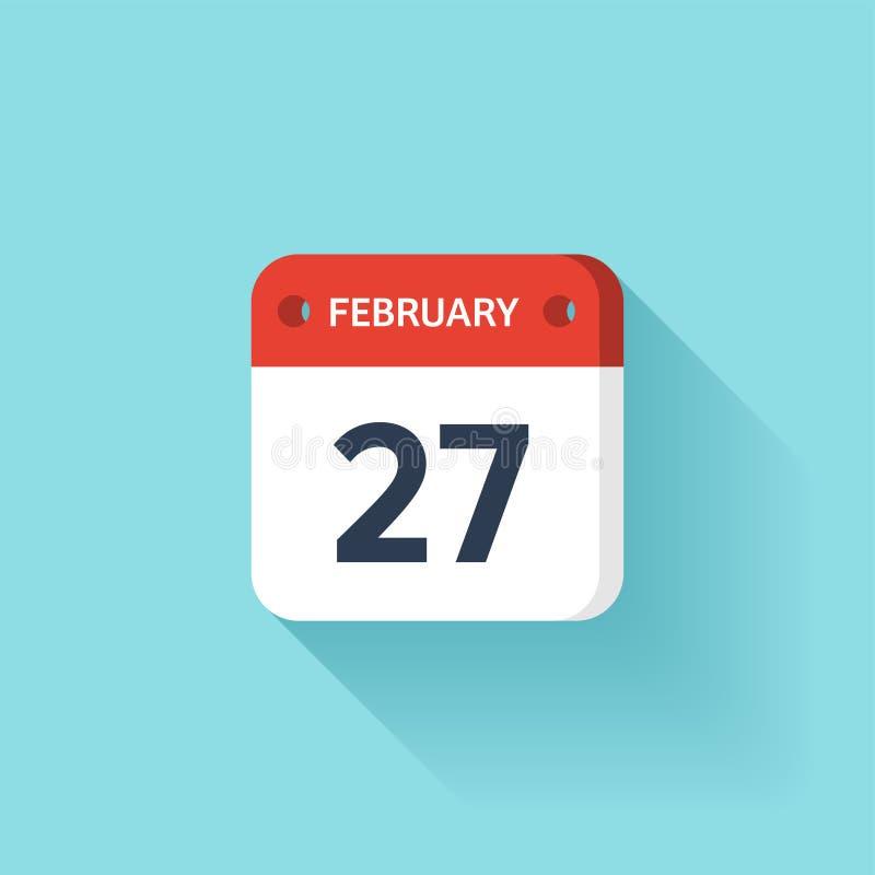 Februari 27 Isometrisk kalendersymbol med skugga Vektorillustration, lägenhetstil Månad och datum söndag måndag, tisdag vektor illustrationer