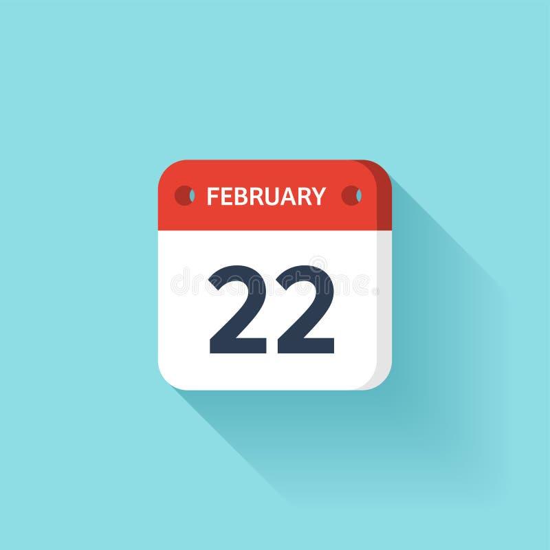 Februari 22 Isometrisk kalendersymbol med skugga Vektorillustration, lägenhetstil Månad och datum söndag måndag, tisdag vektor illustrationer