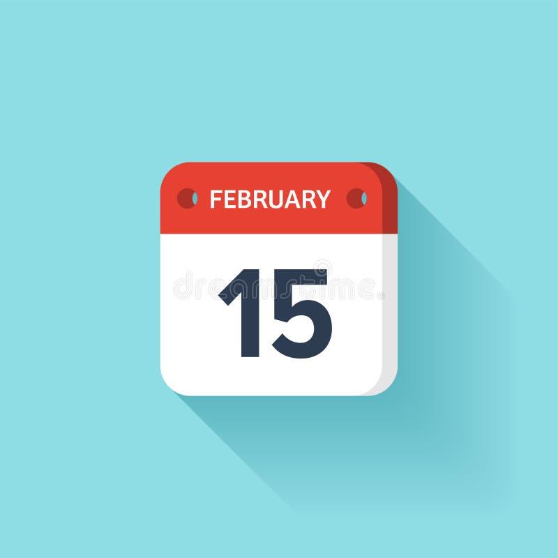 Februari 15 Isometrisk kalendersymbol med skugga Vektorillustration, lägenhetstil Månad och datum söndag måndag, tisdag royaltyfri illustrationer