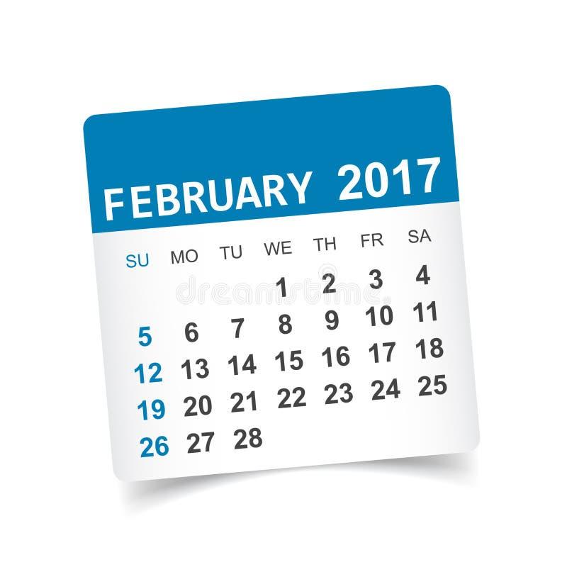 Februari 2017 kalender stock illustrationer