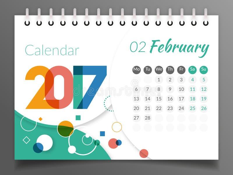 Februari 2017 Kalender 2017 royaltyfri illustrationer