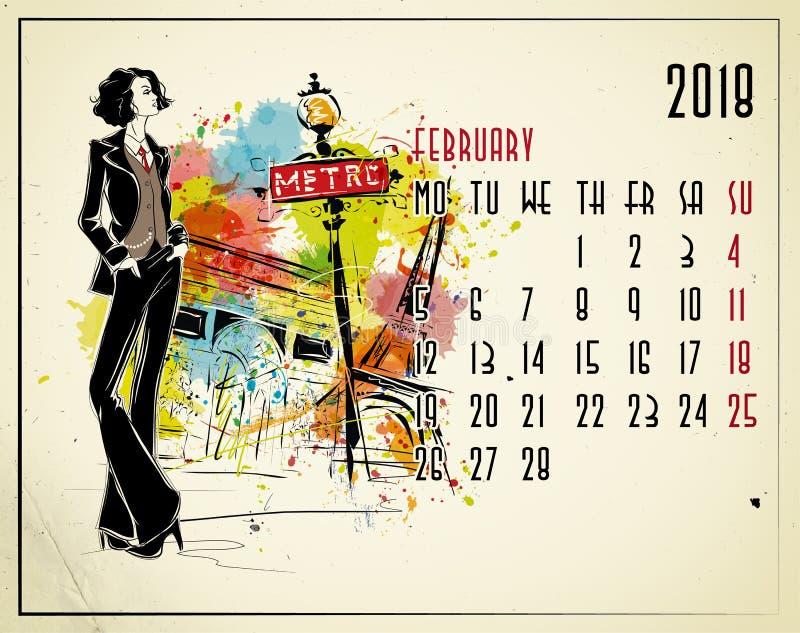 februari Kalender för 2018 europé med modeflickan royaltyfri illustrationer