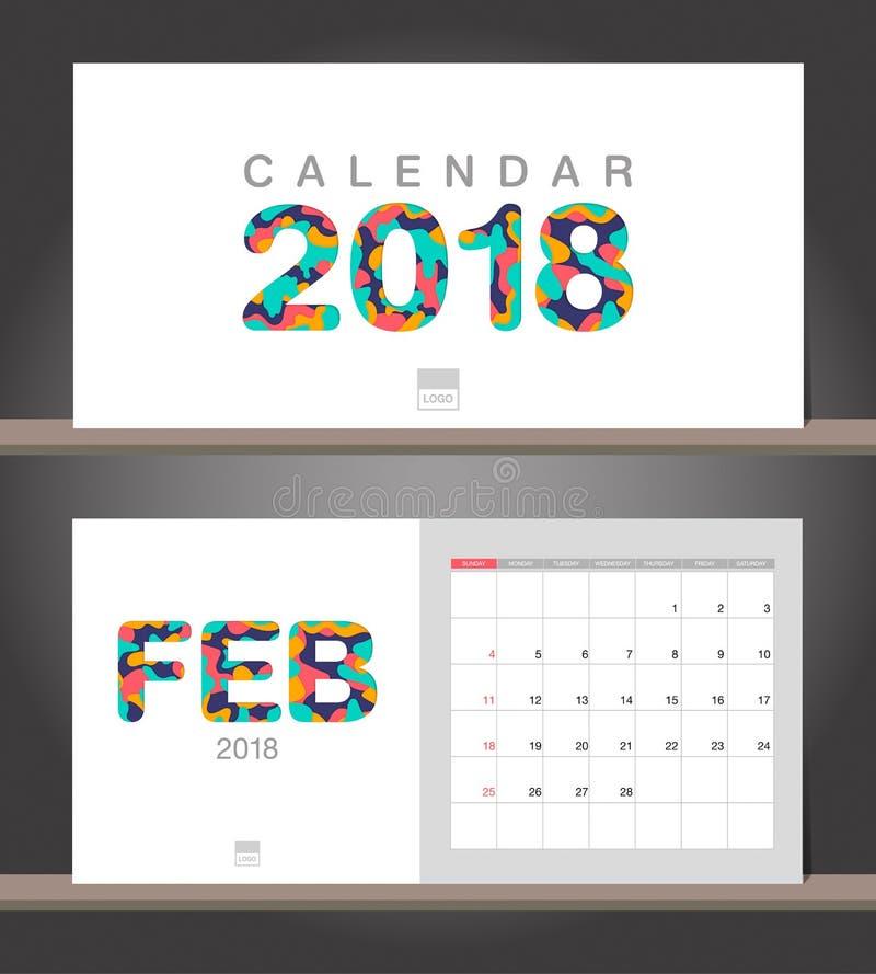 Februari 2018 kalender Intelligens för mall för modern design för skrivbordkalender royaltyfri illustrationer