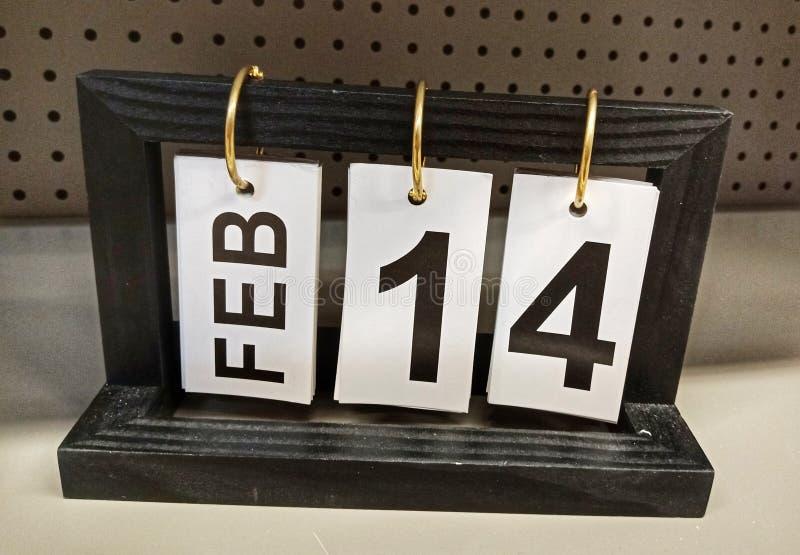 Februari 14, kalendersymbol fotografering för bildbyråer
