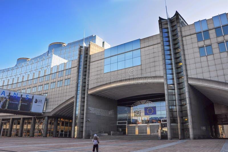 Februari 2017 Modern arkitektur av Europaparlamentetbuildien arkivbild