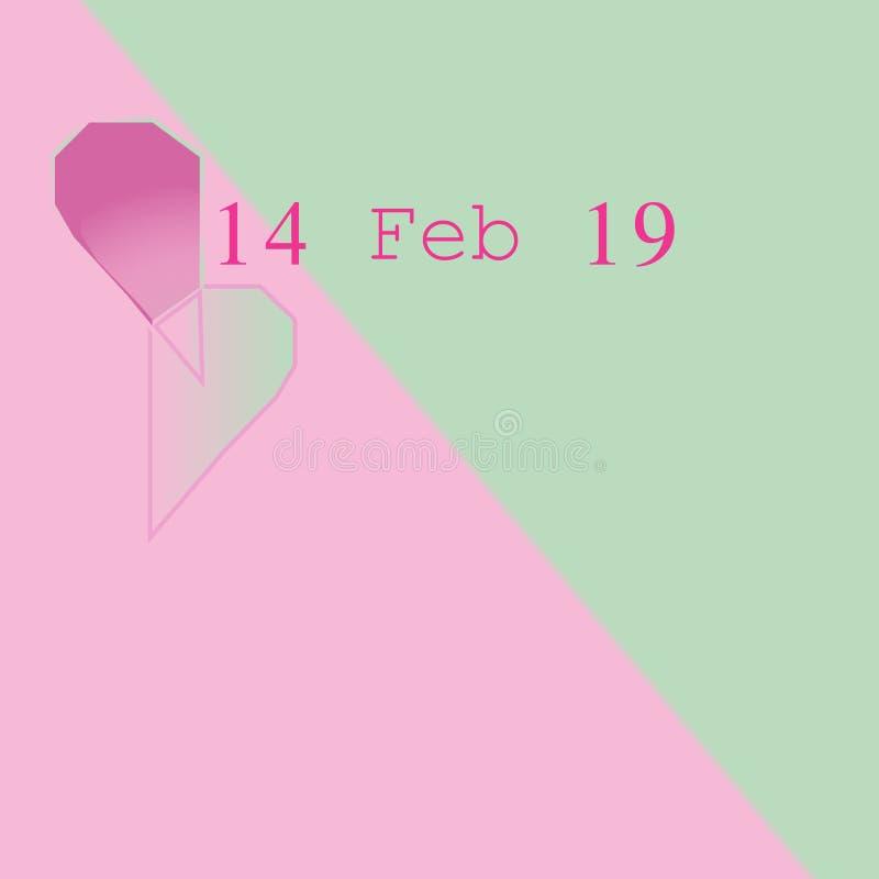 14 februari 19 op pastelkleur twee kleurenachtergrond stock illustratie