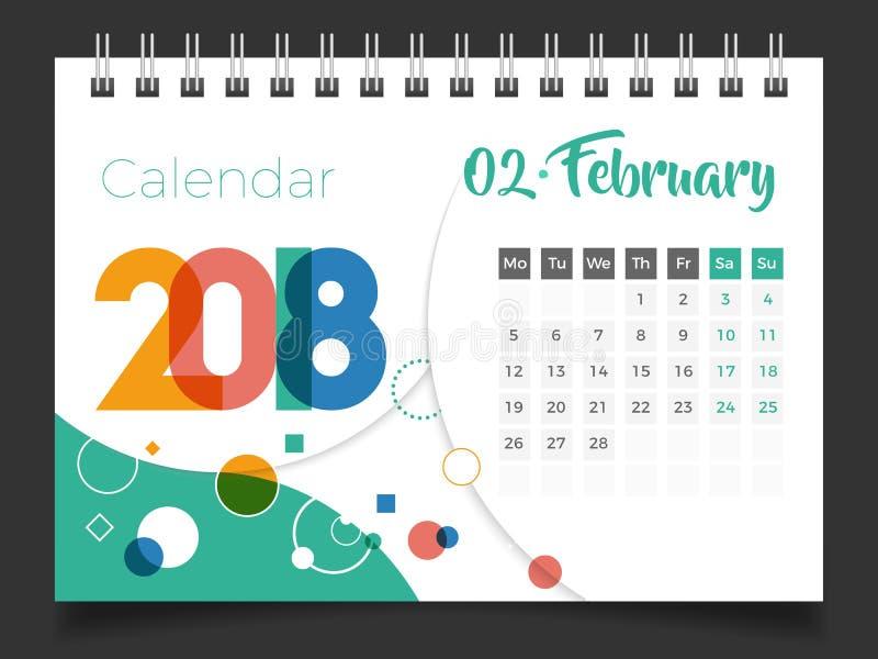 Februari 2018 Skrivbordkalender 2018 stock illustrationer