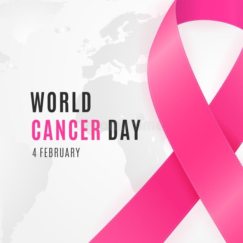 4 februari - van het de Dagweb van Wereldkanker de bannerachtergrond vector illustratie