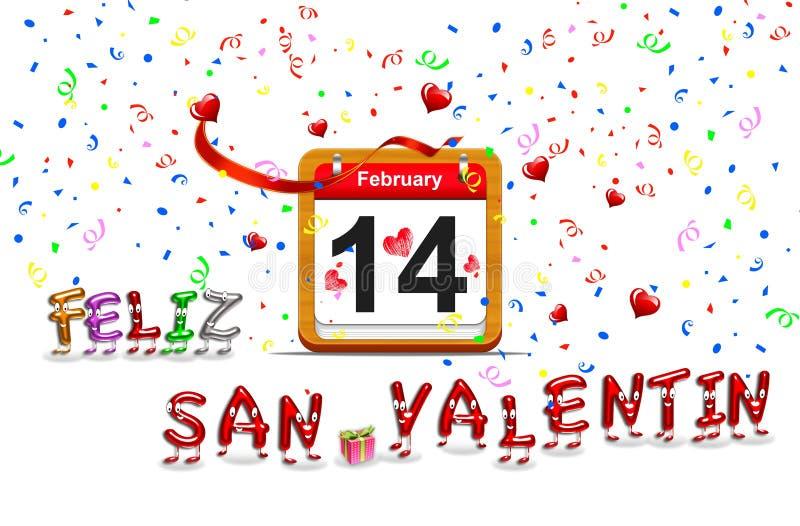 Download February 14. stock illustration. Illustration of calendar - 27648175