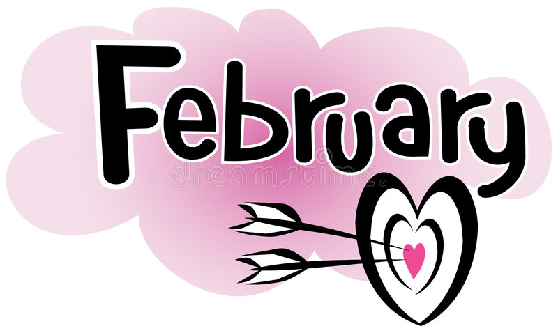 February. Headline of February with a heart target with arrows royalty free illustration