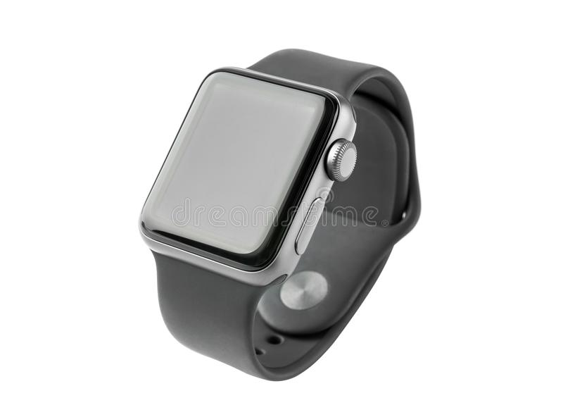 February 2018. Apple Watch Series 3 on a white background. stock image