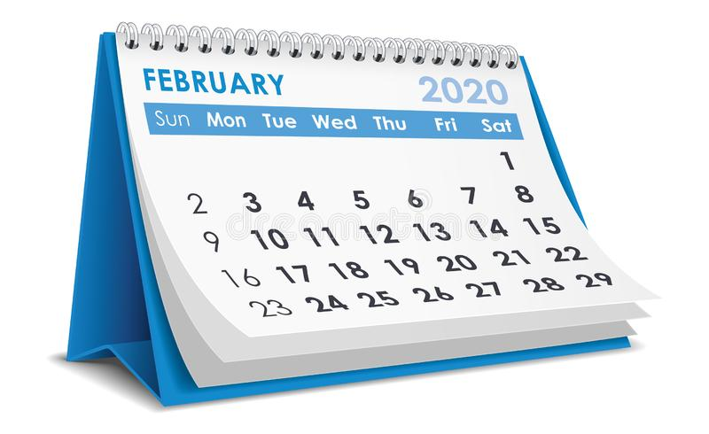February 2020 Calendar. February 2020 3D Calendar isolated on white background. n Vector illustration royalty free illustration