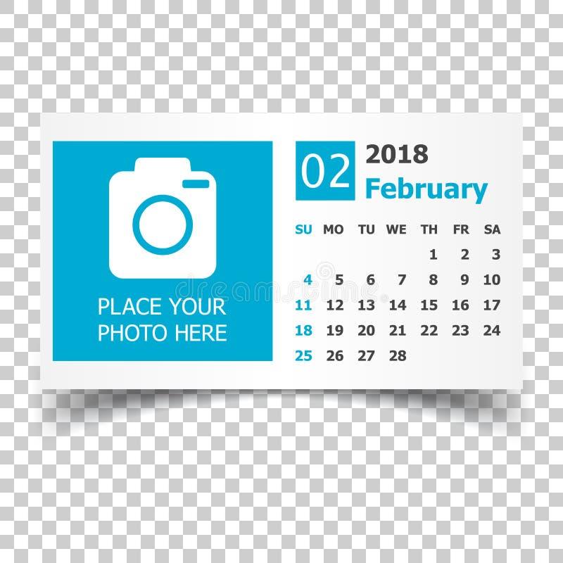 February 2018 calendar. Calendar planner design template with pl royalty free illustration