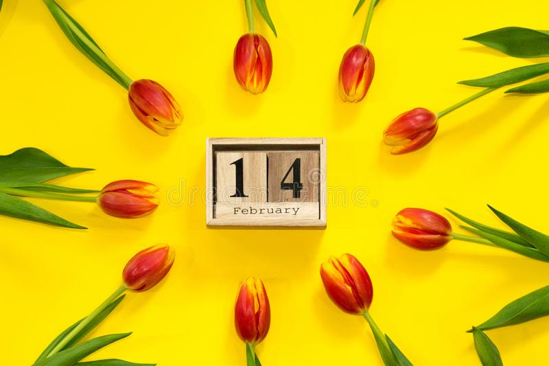 14 february calendar in frame of fresh red tulip flower buttons on yellow background. Valentine& x27;s day composition with wooden stock photo