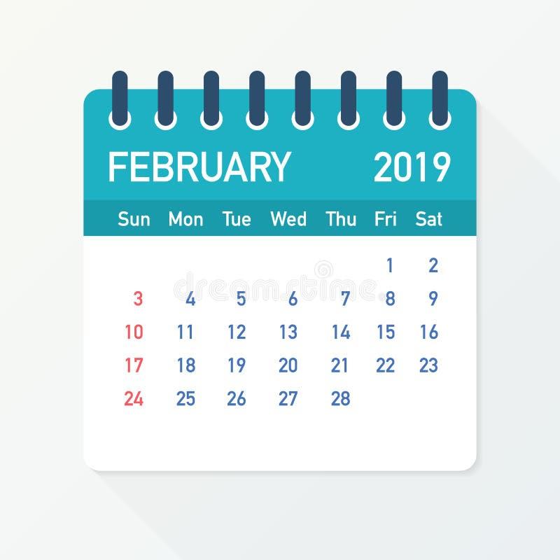 February 2019 Calendar Leaf. Calendar 2019 in flat style. Vector illustration. stock illustration