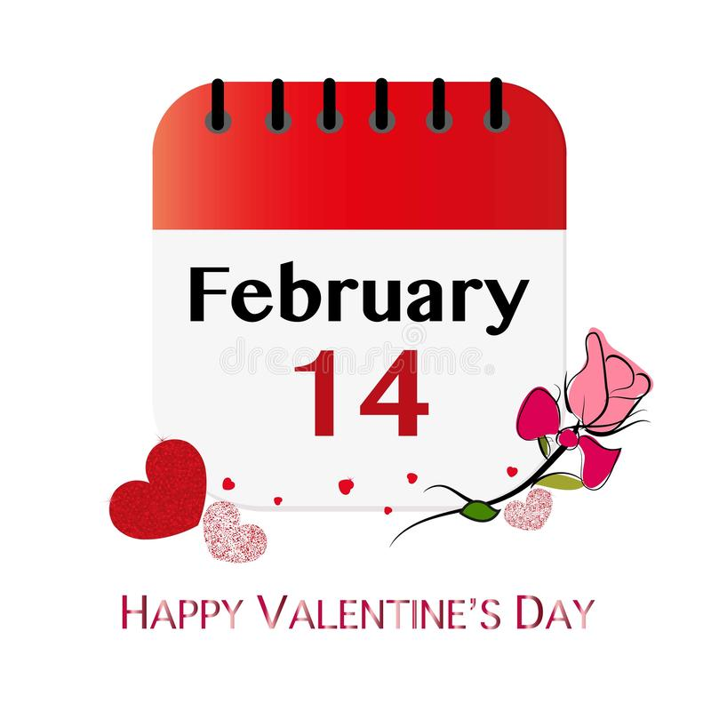 14 February calendar. Shiny sparkle red hearts and hand drawn rose. Happy Valentine`s day greeting card stock illustration