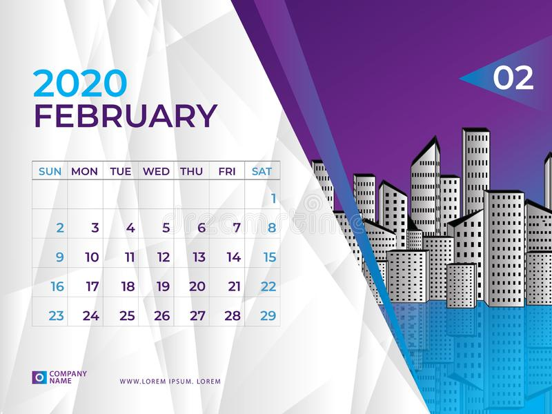 FEBRUARY 2020 Calendar template, Desk calendar layout  Size 8 x 6 inch, planner design stock illustration