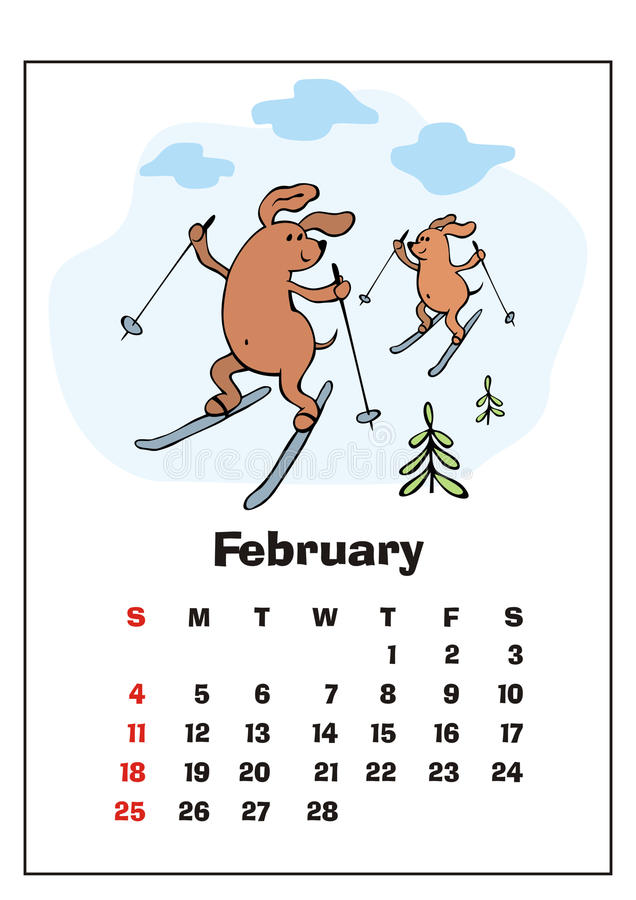 February 2018 calendar stock vector. Image of 2018, puppy - 92635972